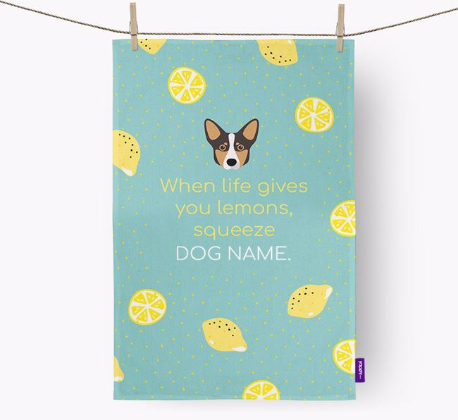 Personalised 'When Life Gives You Lemons' Dish Towel with Lancashire Heeler Icon