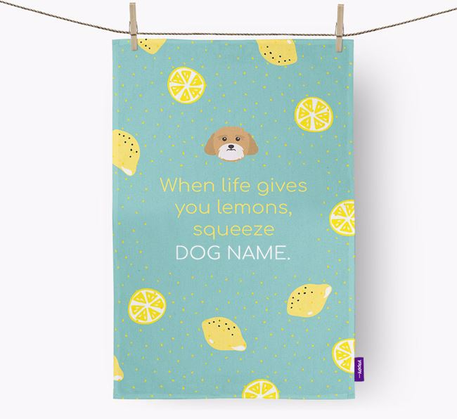 Personalised 'When Life Gives You Lemons' Dish Towel with Lhasa Apso Icon