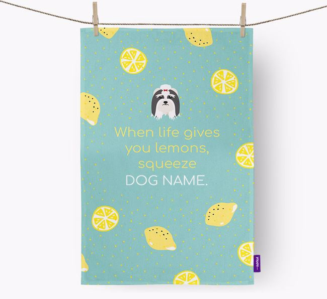 Personalised 'When Life Gives You Lemons' Tea Towel with Lhasa Apso Icon