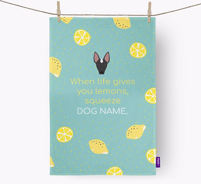 Personalised 'When Life Gives You Lemons' Tea Towel with Mexican Hairless Icon