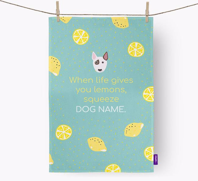 Personalised 'When Life Gives You Lemons' Dish Towel with Miniature Bull Terrier Icon