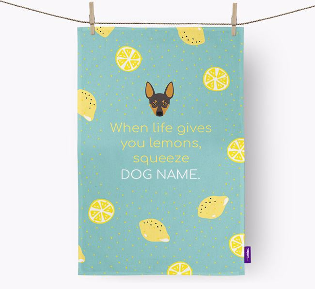 Personalised 'When Life Gives You Lemons' Dish Towel with Miniature Pinscher Icon