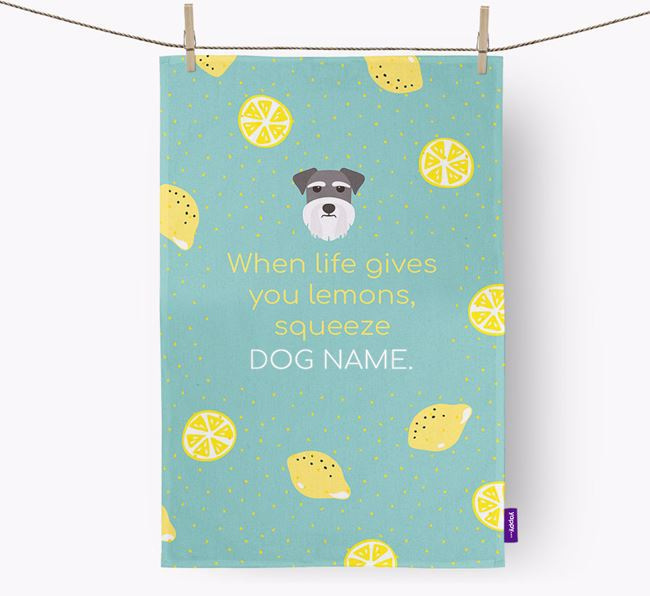 Personalised 'When Life Gives You Lemons' Tea Towel with Miniature Schnauzer Icon