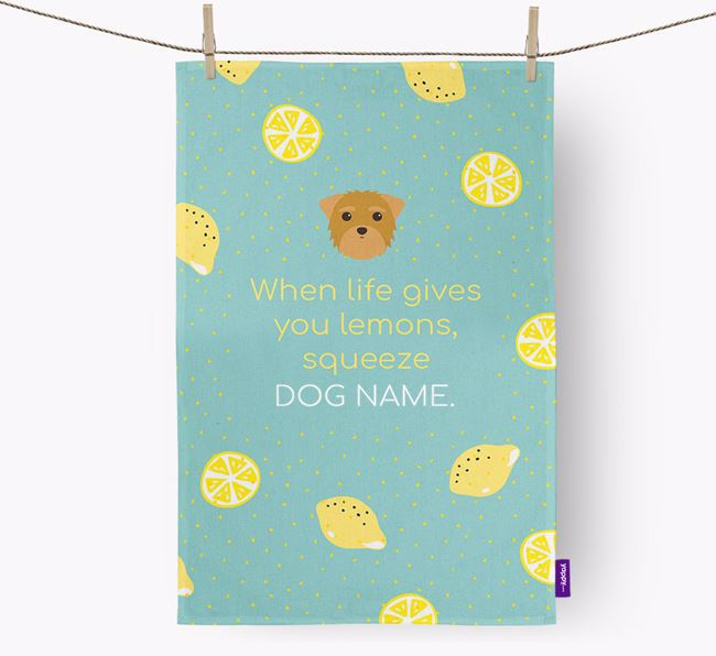 Personalised 'When Life Gives You Lemons' Dish Towel with Morkie Icon