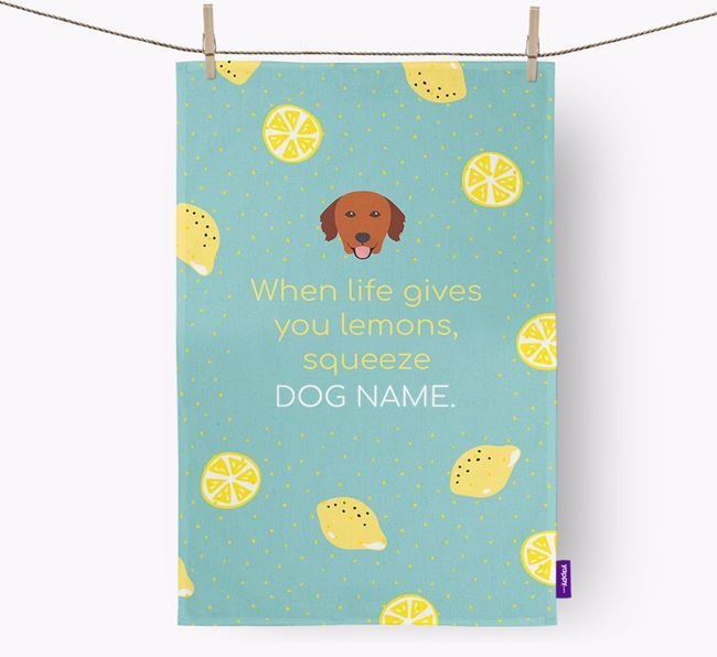 Personalised 'When Life Gives You Lemons' Dish Towel with Nova Scotia Duck Tolling Retriever Icon