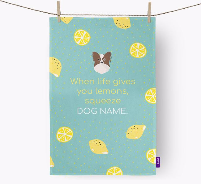 Personalised 'When Life Gives You Lemons' Dish Towel with Papillon Icon