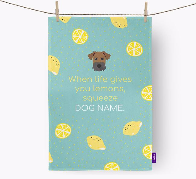 Personalised 'When Life Gives You Lemons' Dish Towel with Patterdale Terrier Icon