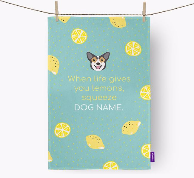 Personalised 'When Life Gives You Lemons' Dish Towel with Pembroke Welsh Corgi Icon