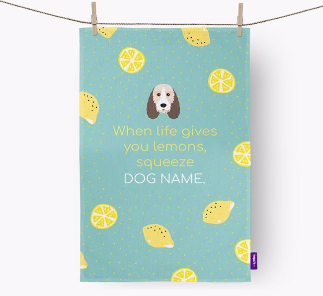 Personalised 'When Life Gives You Lemons' Dish Towel with Petit Basset Griffon Vendeen Icon