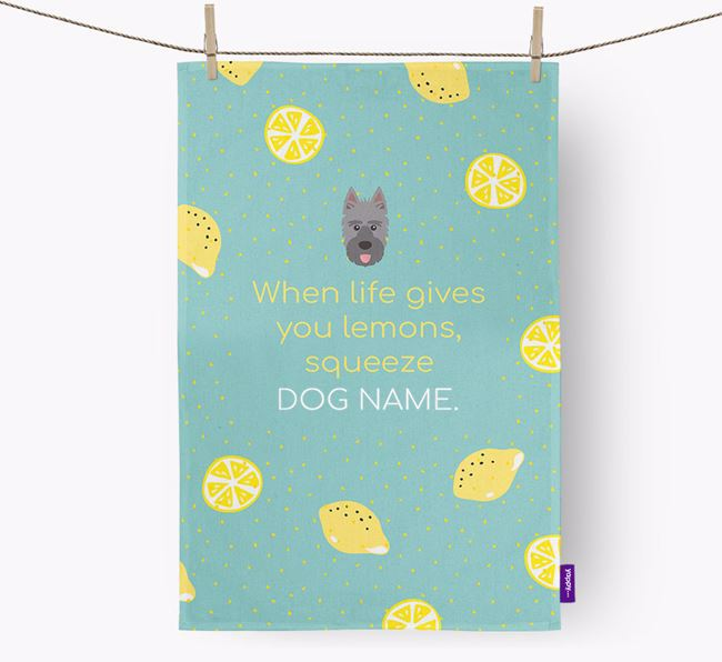 Personalised 'When Life Gives You Lemons' Dish Towel with Picardy Sheepdog Icon