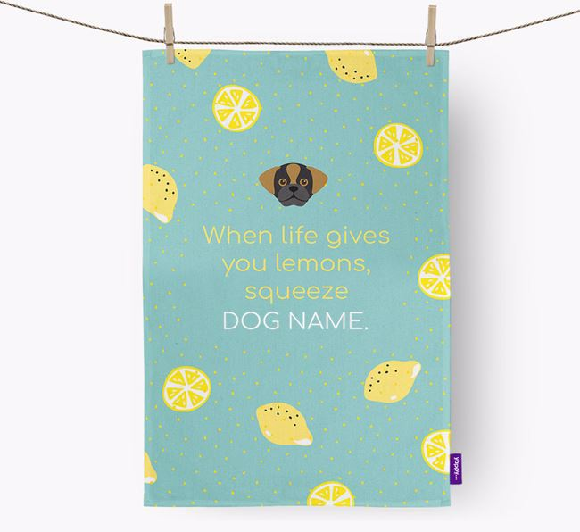Personalised 'When Life Gives You Lemons' Dish Towel with Puggle Icon
