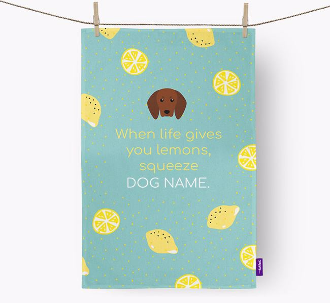 Personalised 'When Life Gives You Lemons' Dish Towel with Redbone Coonhound Icon