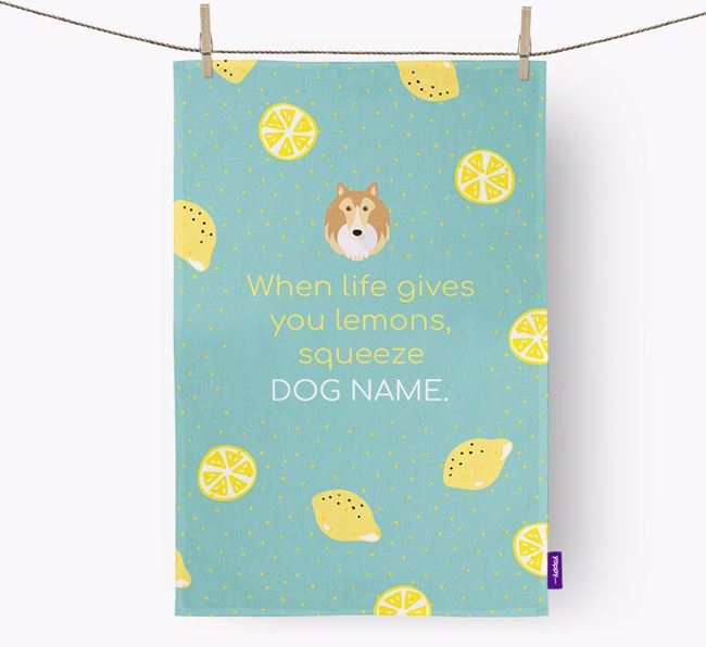 Personalised 'When Life Gives You Lemons' Dish Towel with Rough Collie Icon