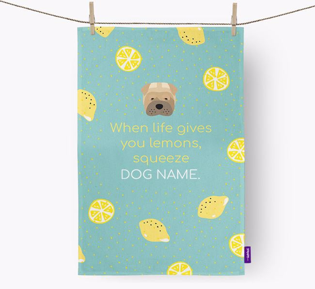 Personalised 'When Life Gives You Lemons' Dish Towel with Dog Icon