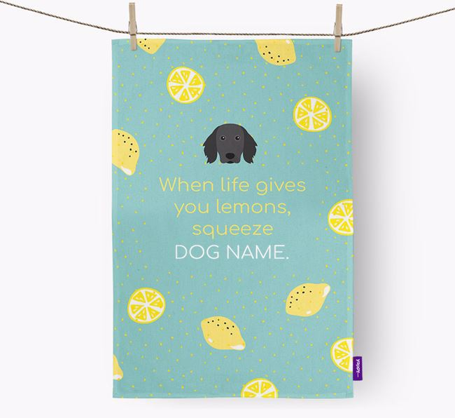 Personalised 'When Life Gives You Lemons' Dish Towel with Small Munsterlander Icon