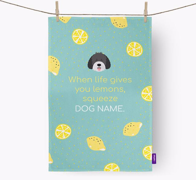 Personalised 'When Life Gives You Lemons' Dish Towel with Spanish Water Dog Icon