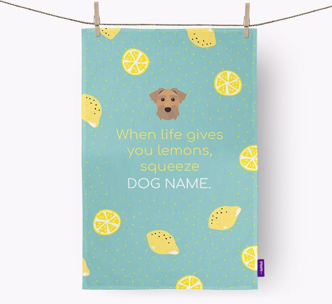 Personalised 'When Life Gives You Lemons' Dish Towel with Sporting Lucas Terrier Icon