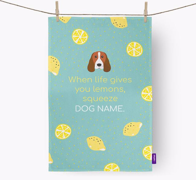 Personalised 'When Life Gives You Lemons' Dish Towel with Springer Spaniel Icon