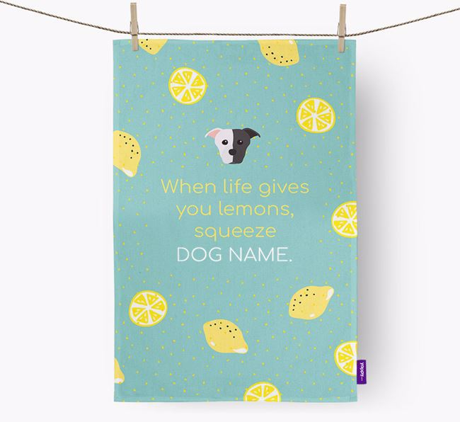 Personalised 'When Life Gives You Lemons' Dish Towel with Staffordshire Bull Terrier Icon