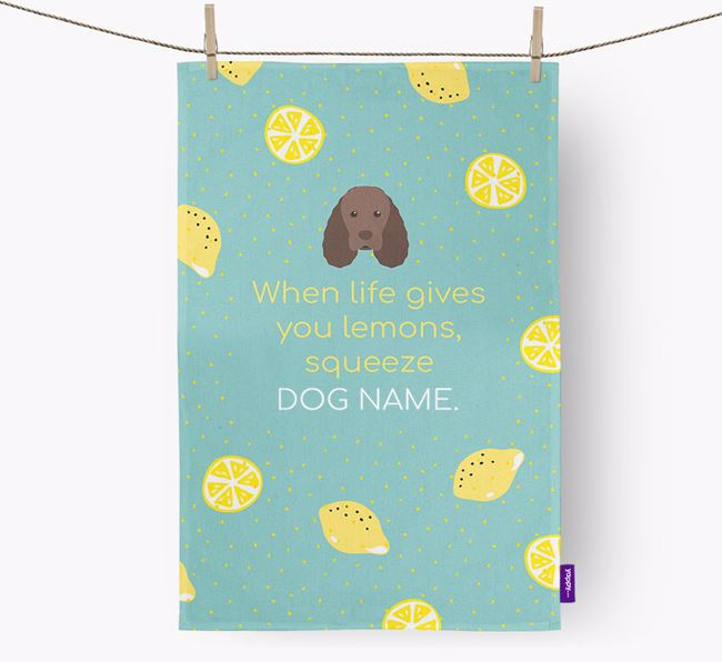 Personalised 'When Life Gives You Lemons' Dish Towel with Sussex Spaniel Icon