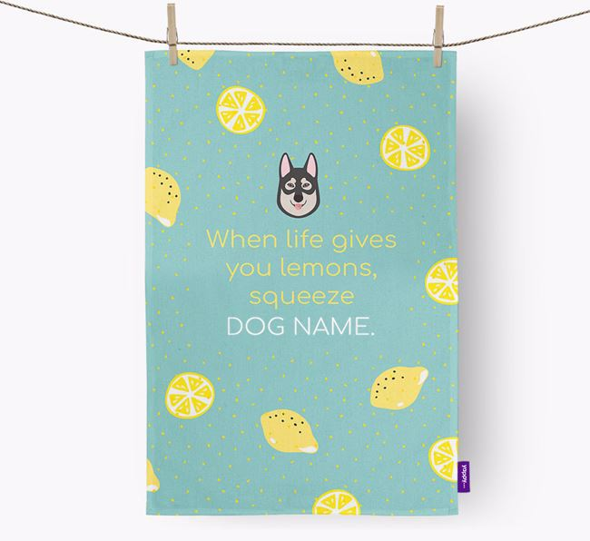 Personalised 'When Life Gives You Lemons' Tea Towel with Tamaskan Icon