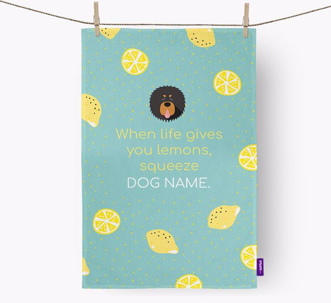 Personalised 'When Life Gives You Lemons' Dish Towel with Tibetan Mastiff Icon