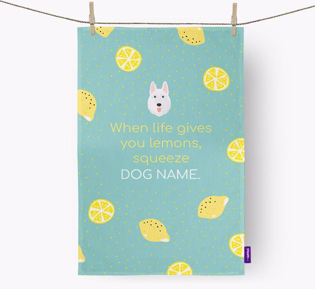 Personalised 'When Life Gives You Lemons' Dish Towel with White Swiss Shepherd Dog Icon