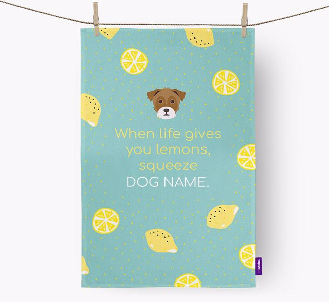 Personalised 'When Life Gives You Lemons' Dish Towel with Yorkie Russell Icon