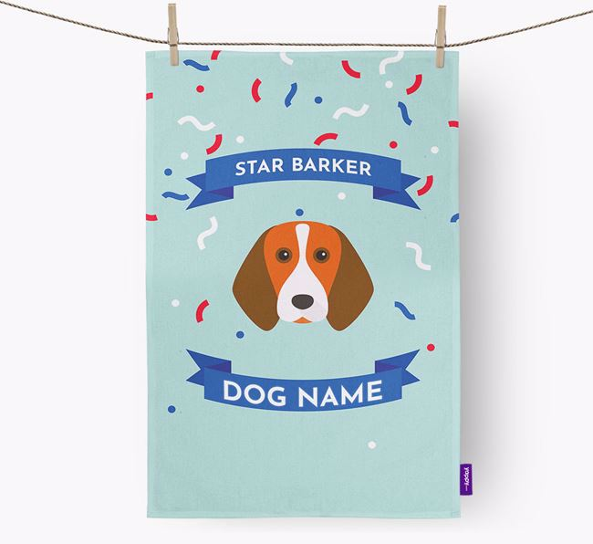Personalised 'Star Barker' Tea Towel with Beagle Icon