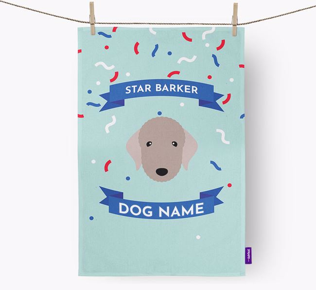 Personalised 'Star Barker' Tea Towel with Bedlington Terrier Icon