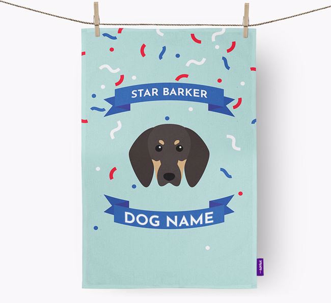 Personalised 'Star Barker' Tea Towel with Black and Tan Coonhound Icon