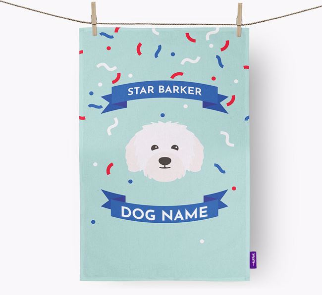 Personalised 'Star Barker' Tea Towel with Bolognese Icon