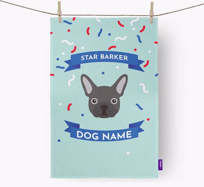 Personalised 'Star Barker' Tea Towel with French Bulldog Icon