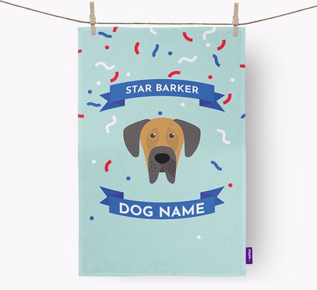Personalised 'Star Barker' Tea Towel with Dog Icon