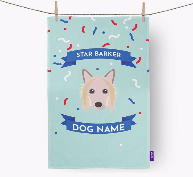 Personalised 'Star Barker' Tea Towel with Hairless Chinese Crested Icon