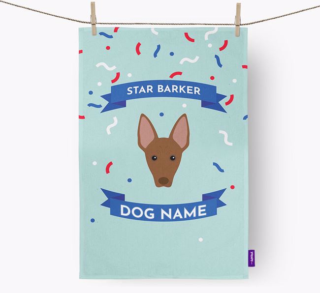 Personalised 'Star Barker' Tea Towel with Mexican Hairless Icon