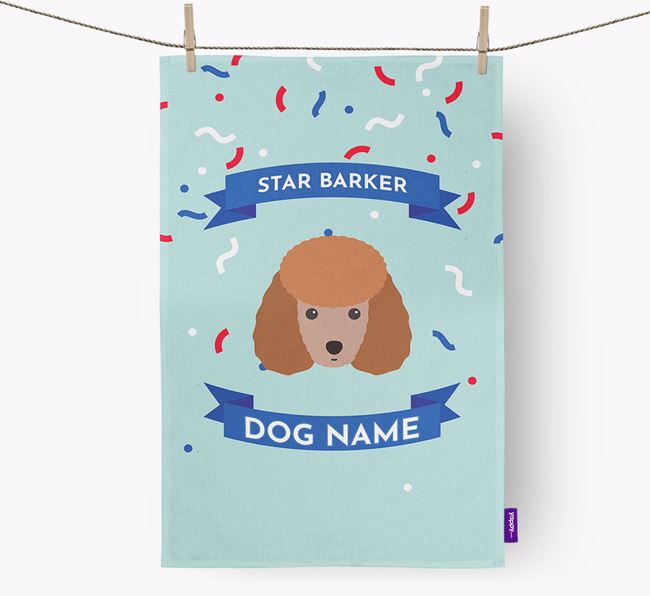 Personalised 'Star Barker' Tea Towel with Toy Poodle Icon