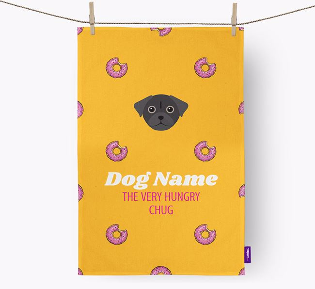 Personalised Tea Towel 'Your Dog The Very Hungry Chug with Icon