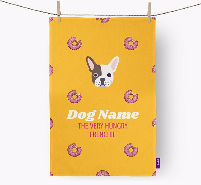 Personalised Tea Towel 'Your Dog The Very Hungry Frenchie with Icon