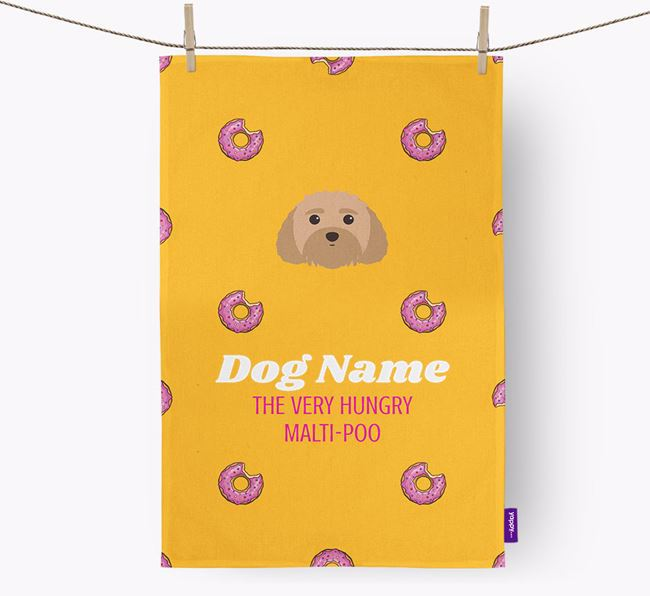 Personalised Tea Towel 'Your Dog The Very Hungry Dog with Icon