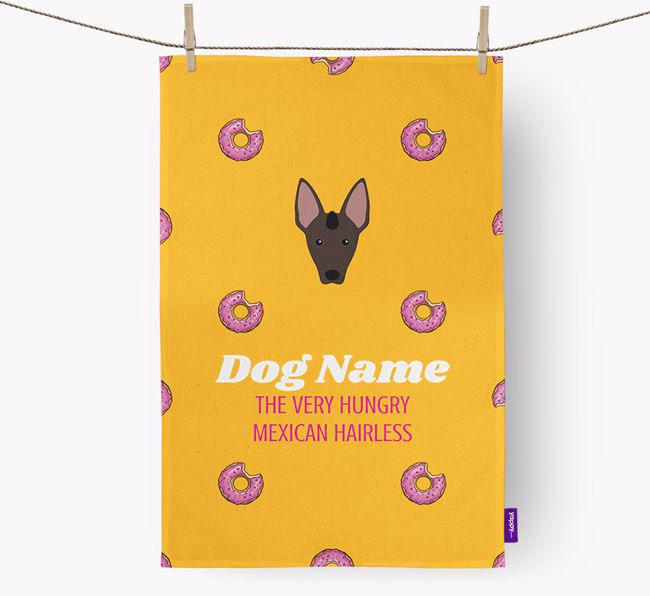 Personalised Tea Towel 'Your Dog The Very Hungry Mexican Hairless with Icon