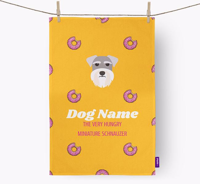 Personalised Tea Towel 'Your Dog The Very Hungry Miniature Schnauzer with Icon