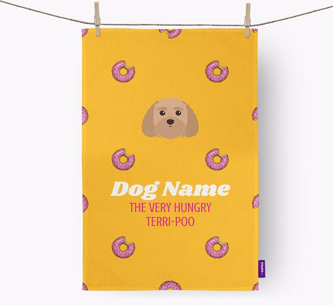 Personalised Tea Towel 'Your Dog The Very Hungry Terri-Poo with Icon